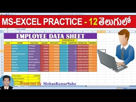 12 Employee Data Sheet Prepare In Excel   Excel Practice Tutorials Telugu   LEARN COMPUTER