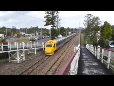 The Rockhampton Electric Tilt Train departing Cooroy Station.