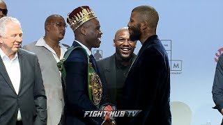 ADONIS STEVENSON & BADOU JACK TRADE WORDS DURING FACE OFF AS BOTH SHOW RESPECT TO EACH OTHER