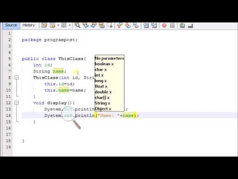 WAP to show used of this keyword in java