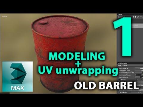 3DSMAX Old metal Barrel | 3D Tutorial | Part 1. | Modeling & uv unwrapping