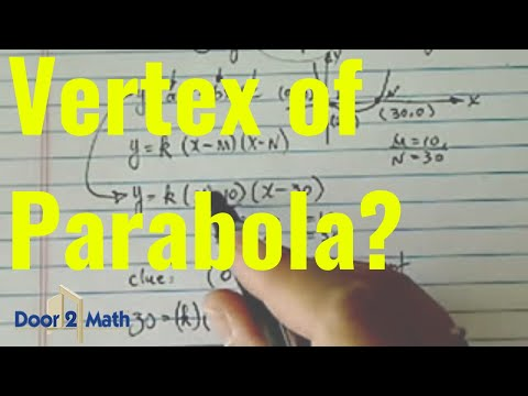 *Equation & Vertex of Parabola: given the two x intercepts and the y intercept