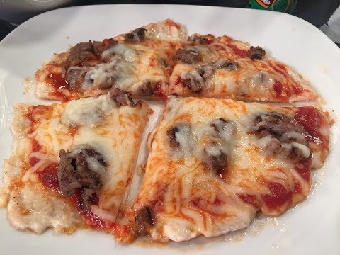 Low Carb Chicken Pizza, with Chicken as the Crust and a Crushed Tomato Sauce