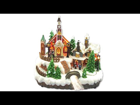 Illuminated Ornament - Resin Church & House Scene With Animated Tree - The Christmas Warehouse
