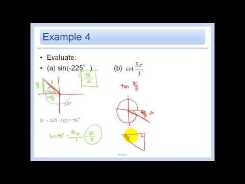 133 Evaluate Trigonometric Functions Of Any Angle