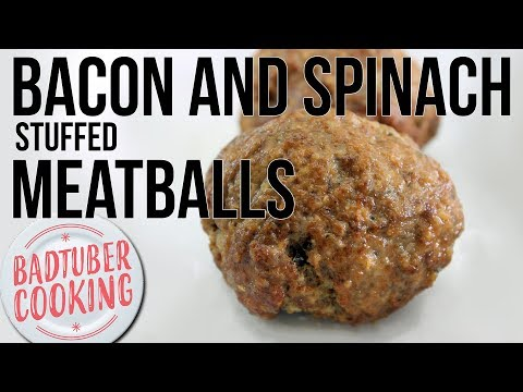 Spinach and Bacon Dip Stuffed Meatballs | Keto and Low Carb Recipe