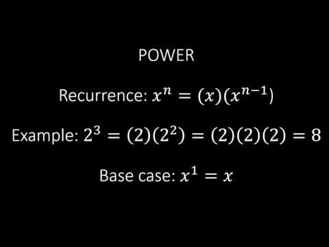 Recursive power function in Python. A simple and easy to code example of recursion.