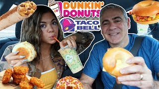 Drive With Me To School MORNING MUKBANG (Dunkin Donuts & Taco Bell)