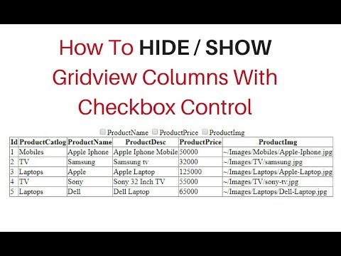 asp.net gridview show hide table columns with checkbox checked c#