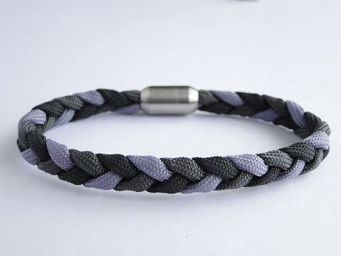 How to Make a Three Strand Flat Braid/Magnetic Clasp Paracord Bracelet