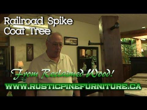 Rustic Pine or Elm Railroad Spike Coat Tree, Mennonite Furniture Aurora Ontario.