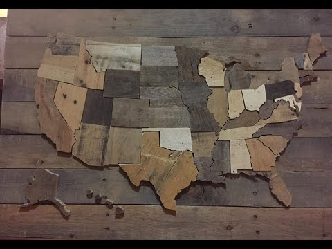 DIY  United States Wall Map - USA decor pallet wood