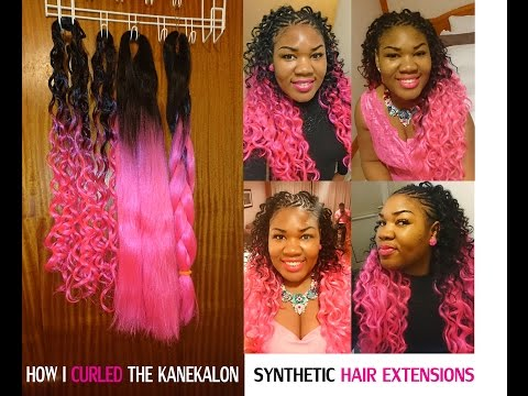 How to CURL SYNTHETIC HAIR with FLEXI RODS FOAM ROLLERS HOT PINK & BLACK OMBRE CROCHET BRAIDS