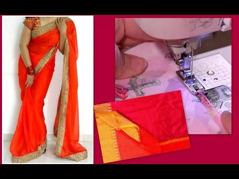How to stitch Saree Fall by Machine / Blind Heming