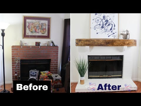 Build a DIY Faux Rustic Beam Mantel | Floating Shelf
