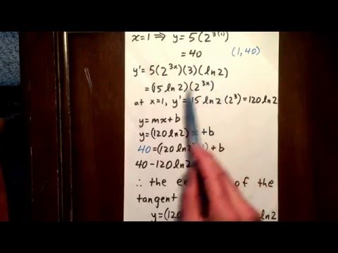 8 exponential function: equation of tangent line