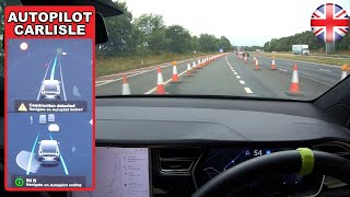 Download FSD AVOIDING traffic cones WITHOUT confirmation! - Tesla Autopilot in a UK City #14 Carlisle Video