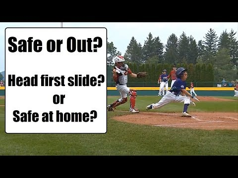 Head First Slide into home? During LLWS 2017. Umpire you make the call.