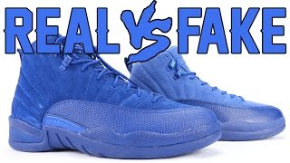 best sneakers 84d84 a0715 Air Jordan 12 Blue Suede/Chanel Real vs Fake | Daikhlo