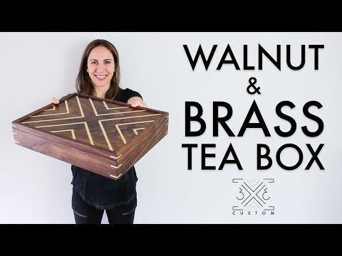Walnut Tea Box // Brass Inlay // Brass Splines // Woodworking Project // Spline Miter // Half Laps