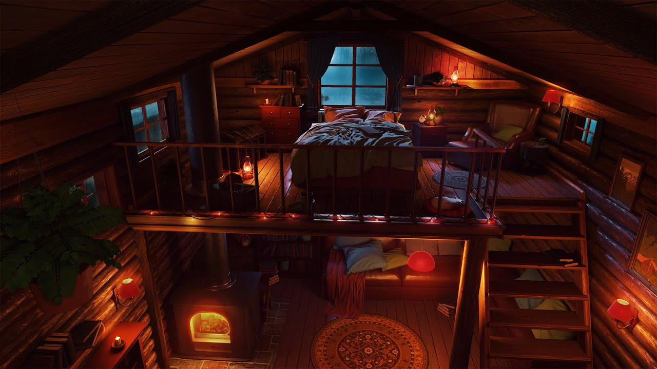 Cozy Cabin at Night with Rain Sounds and Crackling Fireplace for Sleep, Study and Relax