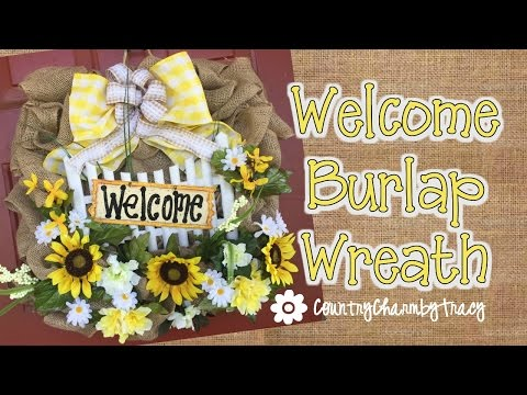 Welcome Burlap Sunflower Wreath || DOLLAR TREE Picket Fence