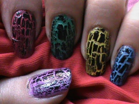 How to use crackle nail polish ? * Crack Nails Tutorial *