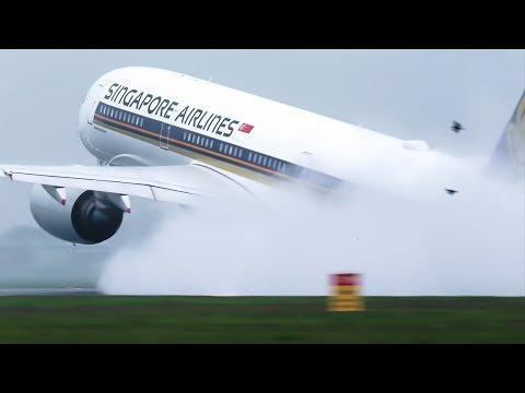 Super Wet takeoff's A350, B747, B787, B777, Singapore, KLM, Jet Airways, Air Canada, United.