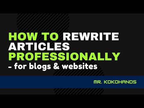 EKEMINI EKPO- HOW TO REWRITE ARTICLES PROFESSIONALLY