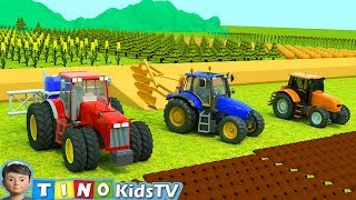 Tractor for Kids Plowing Stuck in Mud |  Farm Tractor Uses for Children