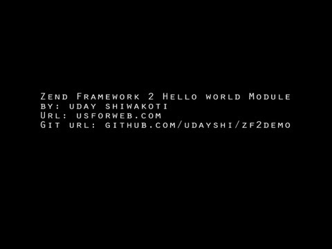 Zend framework 2 Hello World Module (MVC)