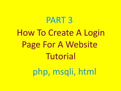 How to Create a Website Login Page Tutorial | Part 3