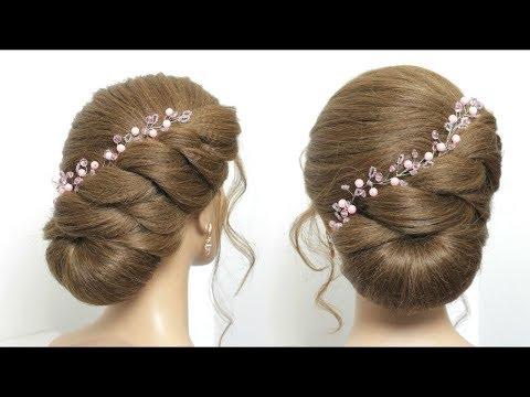 Easy Bun Hairstyle For Long Hair Tutorial. Simple Wedding Updo