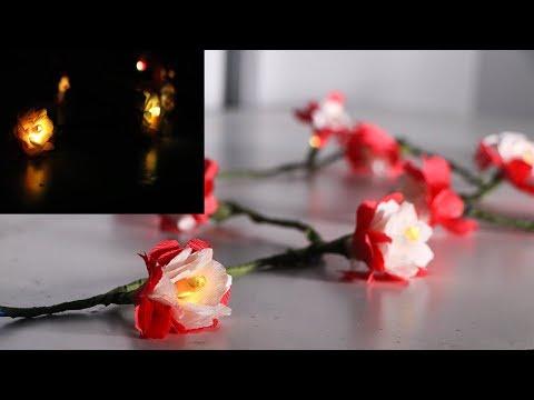 DIY CREPE PAPER LIGHT FLOWERS   DIY FLOWER LIGHTS  