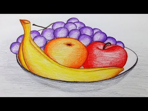 How to draw a plate of fruits.Step by step(easy draw)