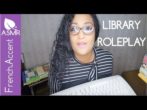 Cute ASMR Library roleplay *Quiet registration *keyboard, book flipping rubbing [french accent asmr]
