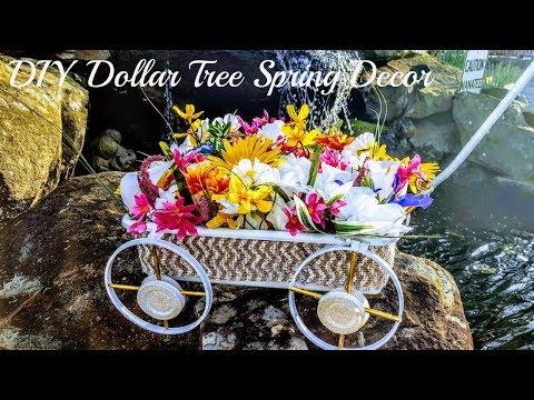 DIY Dollar Tree Spring Outdoor Porch Decor - Floral Wagon - Floral Decor