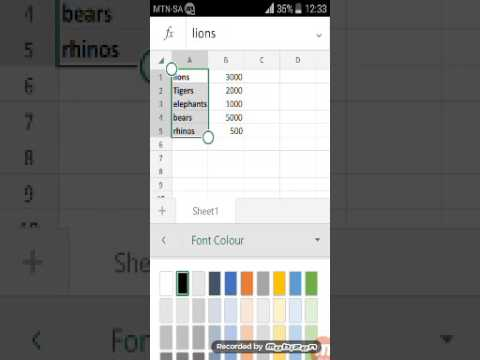 Microsoft excel on android create chart