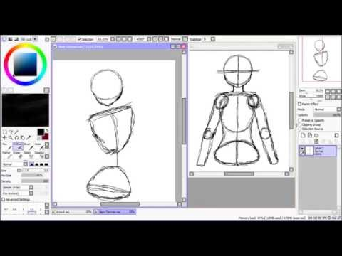 Anime girl body proportion tutorial [ Paint Tool Sai + Mouse]