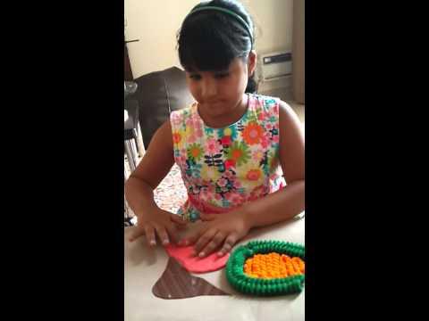 Aanya making her first science model
