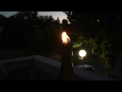 DIY Homemade Wine Bottle Fiberglass Wick Oil Candle In Action