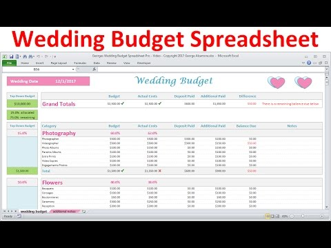 Wedding Budget Spreadsheet - Simple Excel Wedding Budget Planner - Download