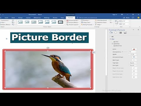 How to Add or Put Picture Border in Microsoft Word 2017