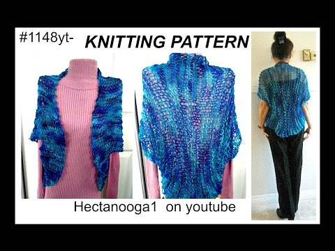 LACY KNITTED SUMMER SHRUG - FREE PATTERN  #1148,  beginner level, SWEATERS AND TOPS