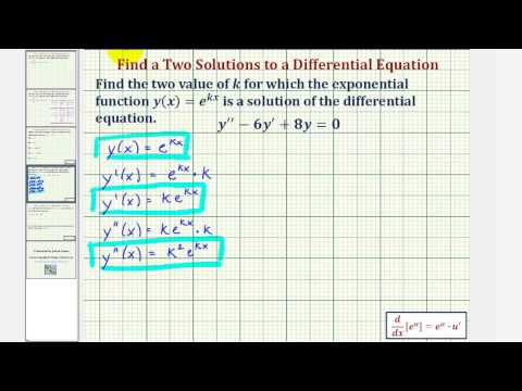 Ex: Find Two Exponential Function Solutions to a Differential Equation