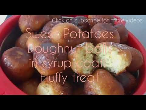Sweet Potato doughnut balls coated with syrup