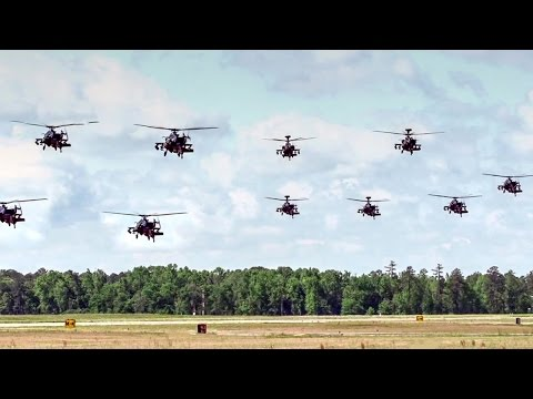 AH-64 Apache Helicopters Mass Launch