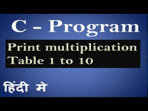 C Program for printing  Multiplication table of 1 to 10 in  Hindi 30