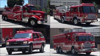 Fire trucks responding   Q siren & AIR HORN -  NEW Heavy Rescue, Command & USAR