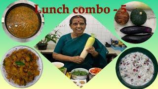 L C - 5/ Kothamalli Thazhai  sambar/Mullangi Poriyal/Vazhaithandu Thayir pachadi/Sepankizhangu fry